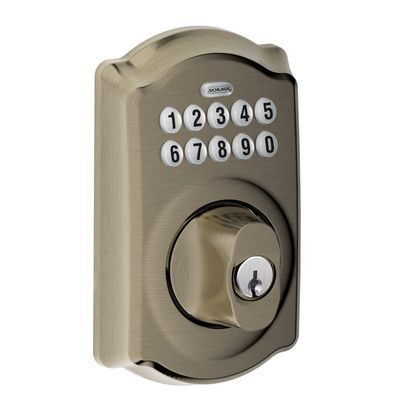 Schlage Keypad Electronic Deadbolt with Camelot Trim Finish: Antique Nickel