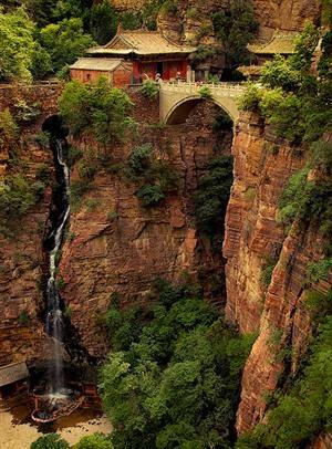 Waterfall, Mount Cangyan, Hebei, China  photo via vacil