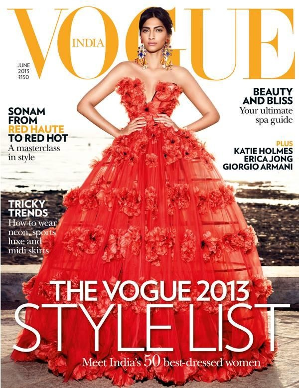 """Sonam Kapoor sizzles in a red gown on """"Vogue India"""" cover for June 2013 issue."""