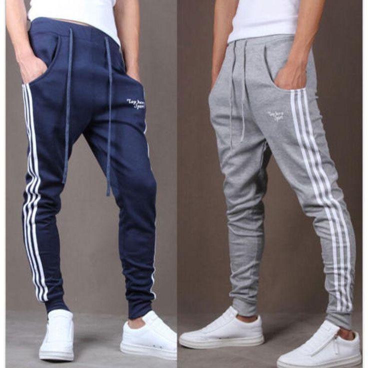 Men sportswear Pants Casual Elastic Cloth Mens Fitness Workout Loose Sweatpants