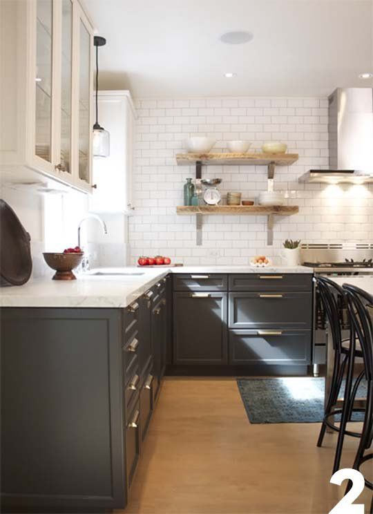Kitchen with dark lower cabinets and white upper cabinets.   Inspiration for Dan's Kitchen  Renovation Diary