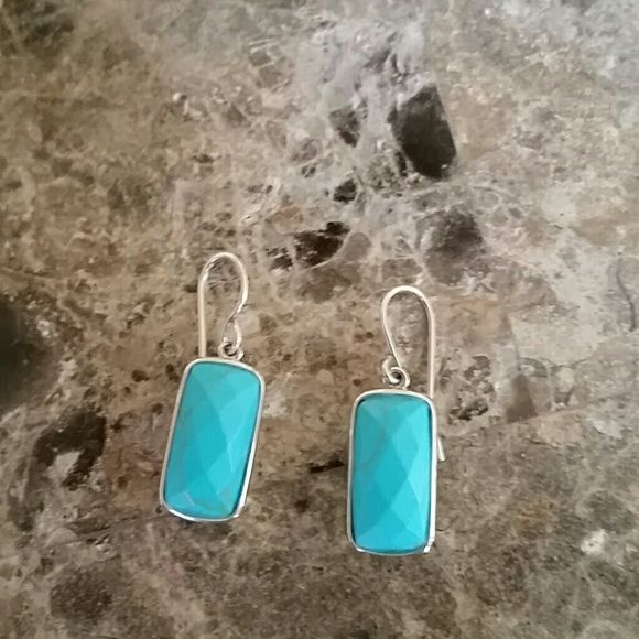 Sterling silver and turquoise earrings Adorable Cushing cut turquoise earrings encased in 925 sterling silver. Never worn. No flaws. Jewelry Earrings