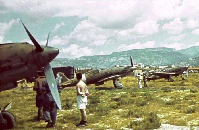 Macchi MC 202s, 164th Squadriglia, 161st Gruppo Autonomo Caccia, at Reggio Calabria Airfield, July 1943.