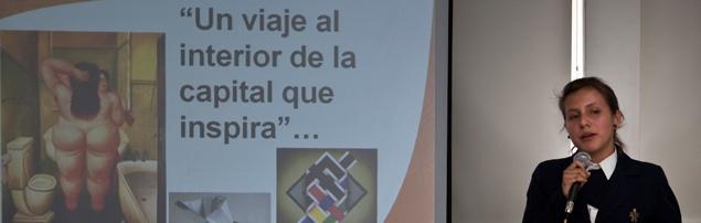 TURISMO ARTÍSTICO Bogotá, 27 de febrero de 2012.- Ante representantes de agencias de viajes y en el marco de la presentación de la Escuela de Guías del SENA, Leidy Díaz, aprendiz del ciclo tecnológico en Guianza Turística, expuso un proyecto en el que se muestra a la capital del país a partir del arte.