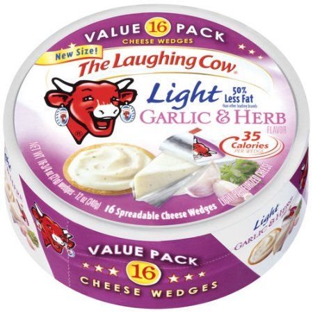 The Laughing Cow Light Garlic & Herb Spreadable Cheese Wedges, 16 count