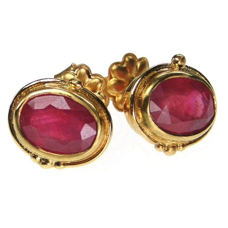 Evangelatos Ruby Post Earrings,18k Gold and Rubies. Athena's Treasures, www.athenas-treasures.com