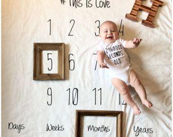 Jalons mensuel bébé, couverture anniversaire, couverture de bébé noir et blanc, baby onesies mensuel photoprop nouveau-né
