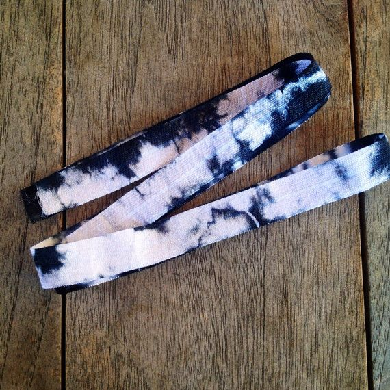 Black-White Tie Dye Fold Over Elastic by the by ElasticHairBandz, $1.60