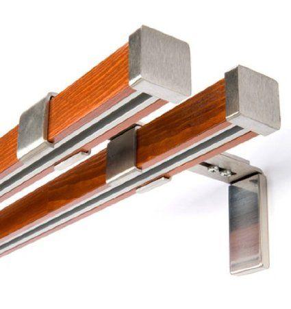 Innenlauf Gardinenstange 2-Läufig Holz-Stahl Stange , 320: Amazon.de: Küche & Haushalt
