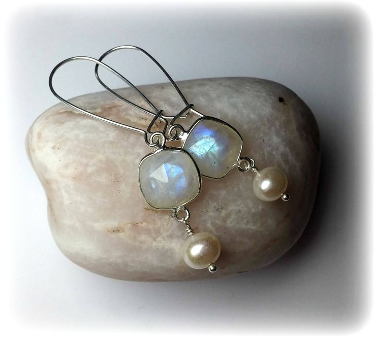 ~ Absolutely ~ beautiful delicate earrings with rainbow moonstone and real freshwater pearls in sterling silver 925! Amazing gemstone earrings that can be worn everyday to add class and style to your outfit or on your special wedding day! They will be the perfect bridesmaid earrings too!