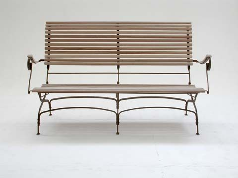 Recliner Bench with Natural Timber Slats and Rust Finish Frame - Inside Out Home Boutique