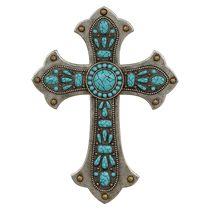 Turquoise Stone Wall Cross