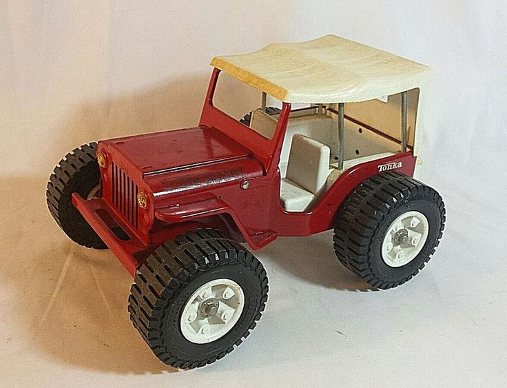 Tonka Jeep 1970s Dune Buggy No. 2445 Red Pressed Steel Vintage Toy White Top #Tonka #Jeep