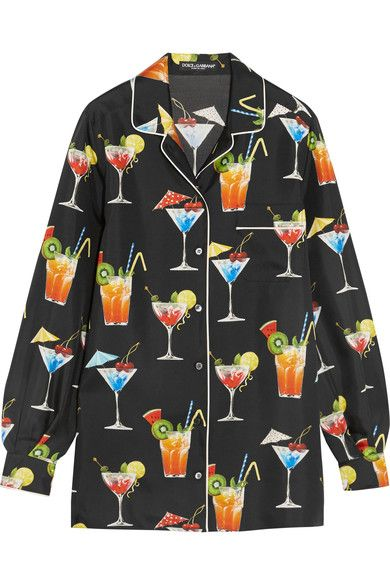 Dolce & Gabbana - Printed Silk-twill Shirt - Black - IT36