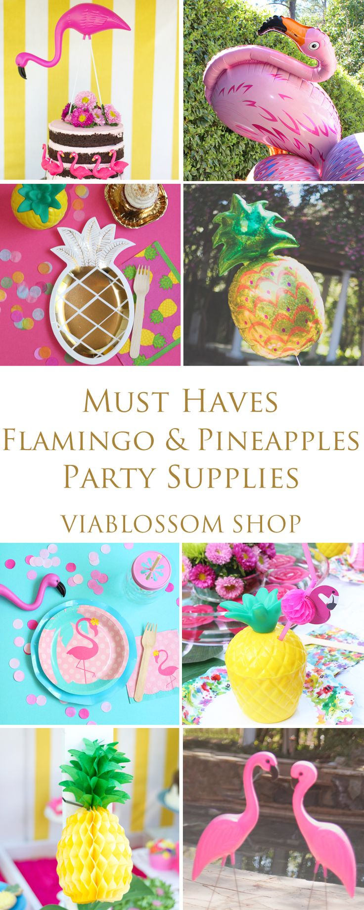 Must Haves Flamingo and Pineapples Party Supplies! Everything you'll need for your Flamingo Party! All kinds of Pineapple decorations and Flamingo Party Supplies!