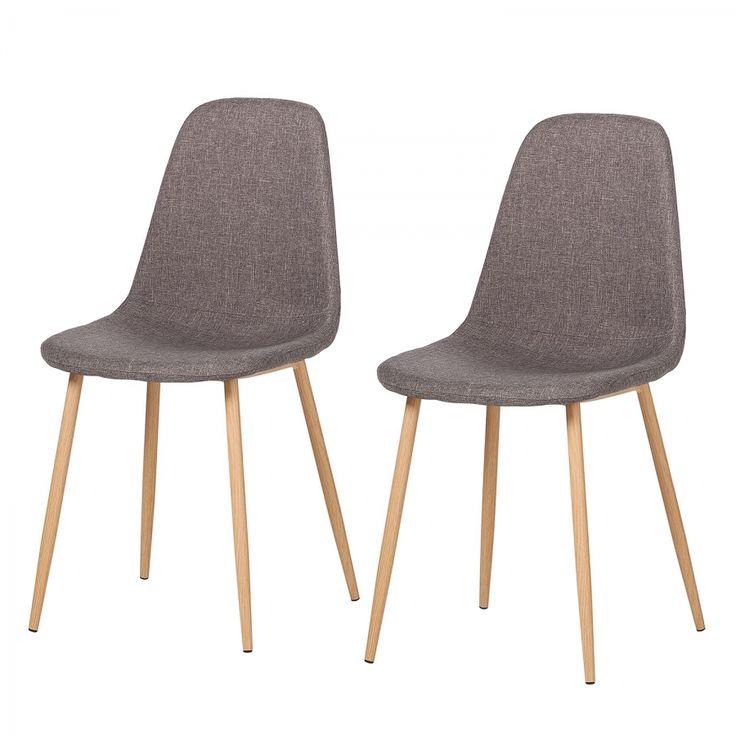 Gestoffeerde stoelen Iskmo III (2-delige set) - geweven stof - Grijs