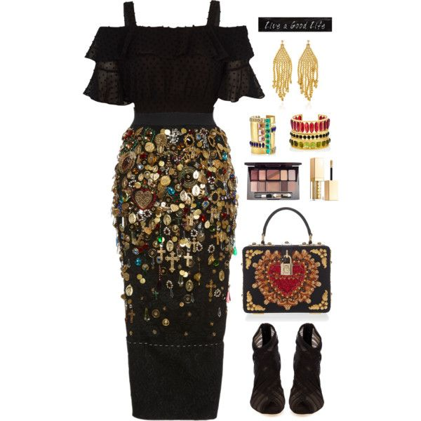 A fashion look from April 2017 featuring Dolce&Gabbana skirts, Dolce&Gabbana ankle booties and Dolce&Gabbana shoulder bags. Browse and shop related looks.