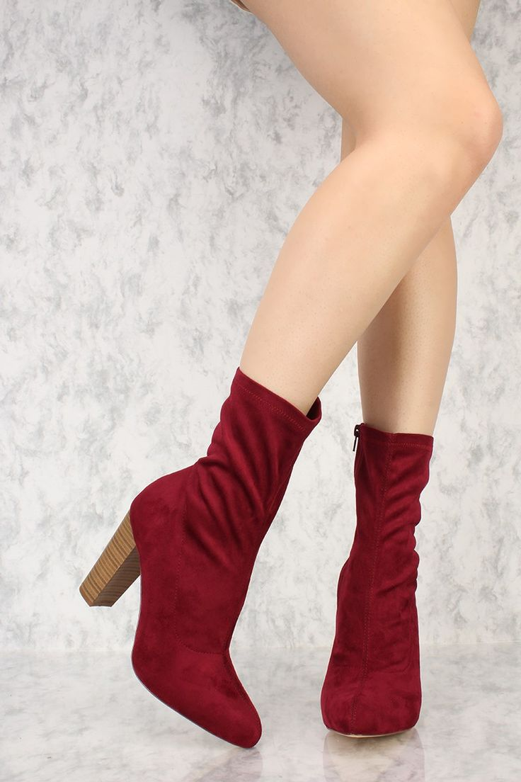 Wine Round Pointy Toe Mid Calf Wooden Chunky High Heels Booties Suede