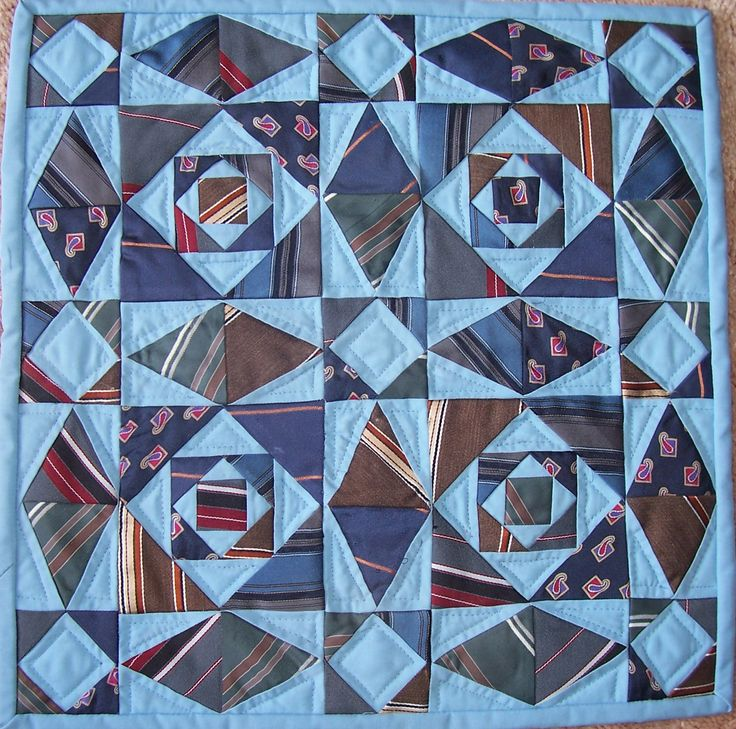 """Memory quilt from Dad's ties, 12"""" square, Storm at Sea.  Posted by thimblebug6000 at Quilting Board"""