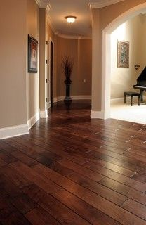 "Tuscany™ Collection 6"" wide plank Black Walnut hardwood floor, smooth face, hand beveled,stained in custom color, site finished with Synteco 35 (Satin)"