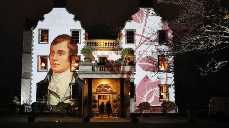A portrait of Robert Burns is projected on to the front of Prestonfield House in Edinburgh on Burns Night, 25 January 2018