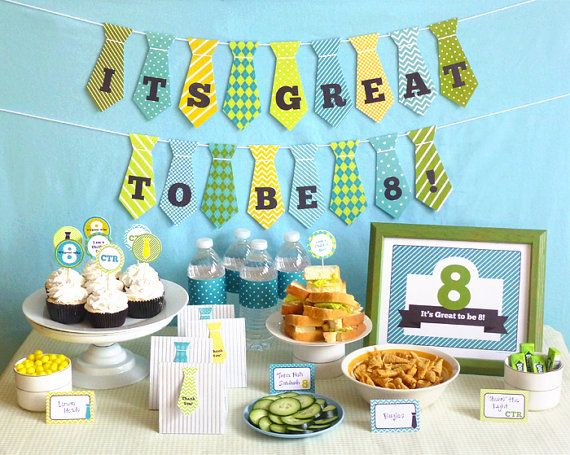 Great to be 8 Boy Party Printable Set: LDS Baptism Party Kit Downloads - Banner, Decorations, Cupcake Toppers, Favor Tags