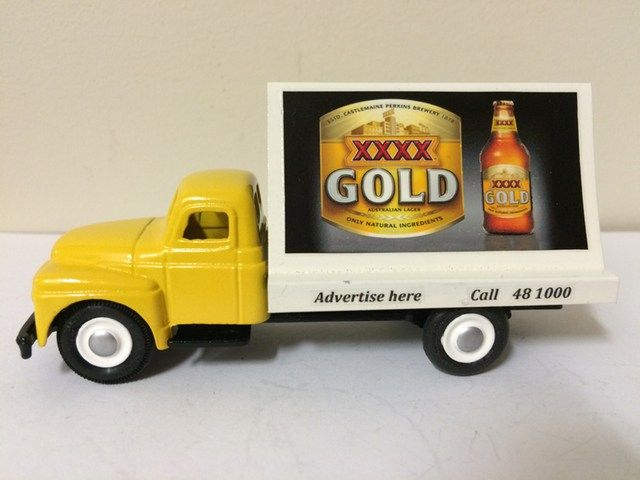 Micro Models International Truck and chassis. A hand made billboard rear has been added.  Decals applied. XXXX is a well know Australian beer manufacturer.  Most of my models are custom made for clients.  Some do appear for sale on Ebay. www.diecastdesigns.net