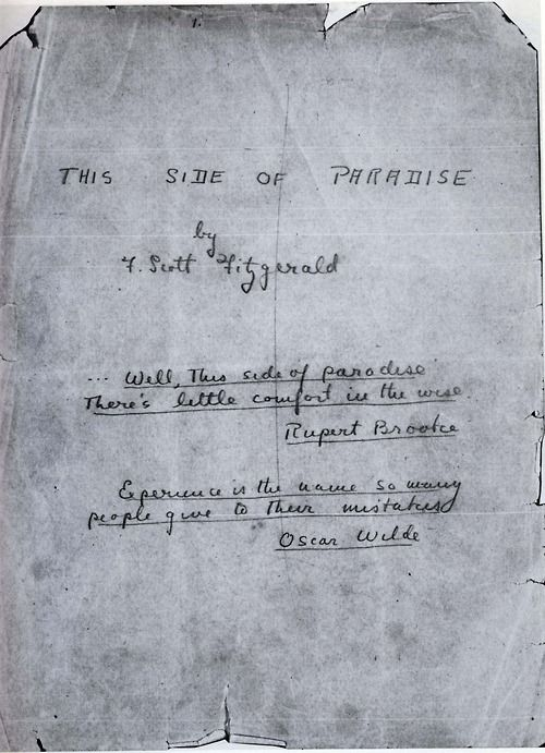 The first page of F Scott Fitzgerald's This Side of Paradise