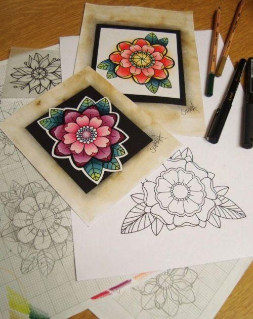 Flower tattoo designs by Sophie Adamson