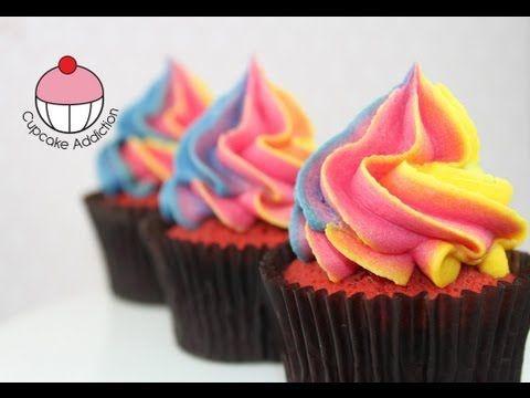 Fácil Técnica Rainbow Frosting remolino por Cupcakes! - Una magdalena Adicción Cómo Tutorial