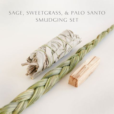 """DO YOU KNOW DIFFERENT SMUDGES HAVE DIFFERENT PROPERTIES? - SAGE is used for cleansing and clearing. SWEETGRASS welcomes in positive energies into a space. PALO SANTO can also be used for cleansing but in my experience works more strongly in bringing sanctity and gravity into ceremony. - One technique is this: Determine what doorway you would like to designate as your """"front door."""" This could be the front door of your home or just the front door of you room. Go to the furthest corner from…"""