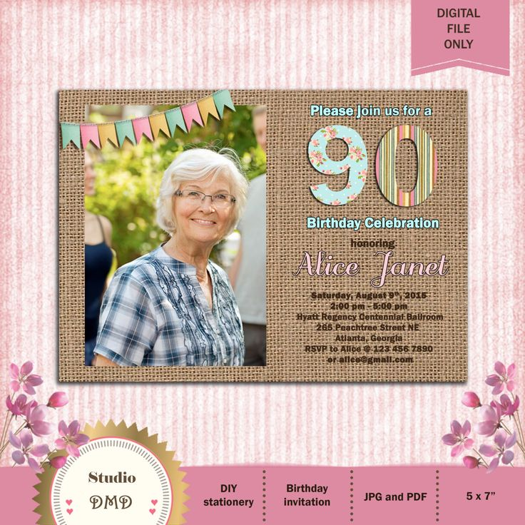 Any Age 21st 30th 40th 50th 60th 70th 80th 90th Birthday Invitation, Shabby Chic & Burlap with Photo, Pink, Floral, Blue - Printable by StudioDMD on Etsy https://www.etsy.com/listing/229667994/any-age-21st-30th-40th-50th-60th-70th