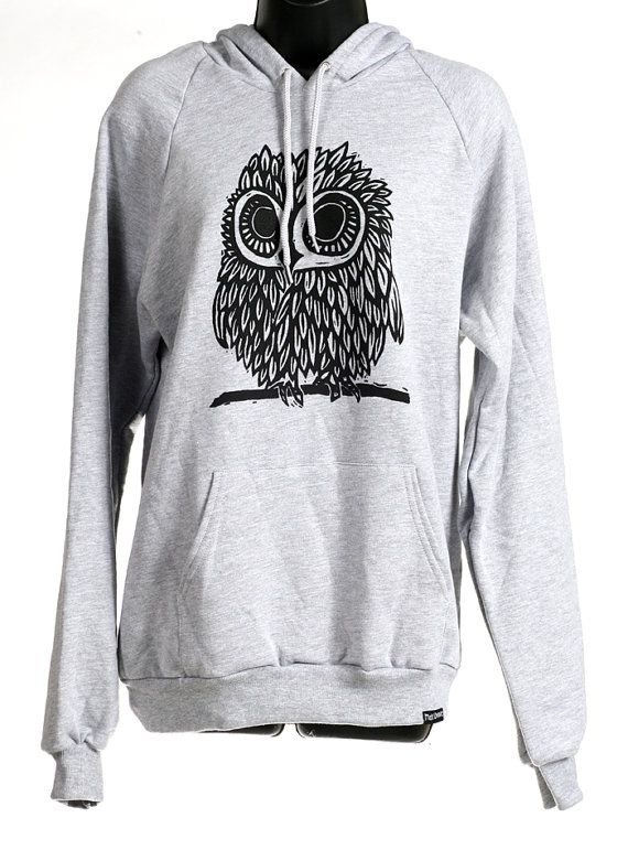 Love owls!! Owl on Heather Grey American Apparel Hoodie s, m, l, xl, xxl on Etsy, $38.00