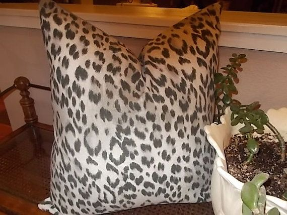 cheetah animal print pillow cover grey on off by