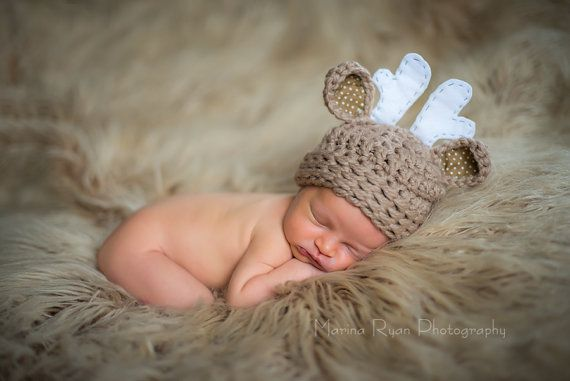 baby deer hat on Etsy, $20.00  maybe she could do a moose hat??