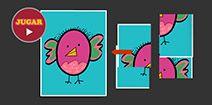 Rompecabezas de 4 piezas para niños online y gratis. Pajarito.