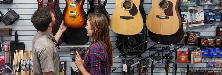 The hunt is on for a new guitar at Bad Robot Electronics in downtown Summerland.