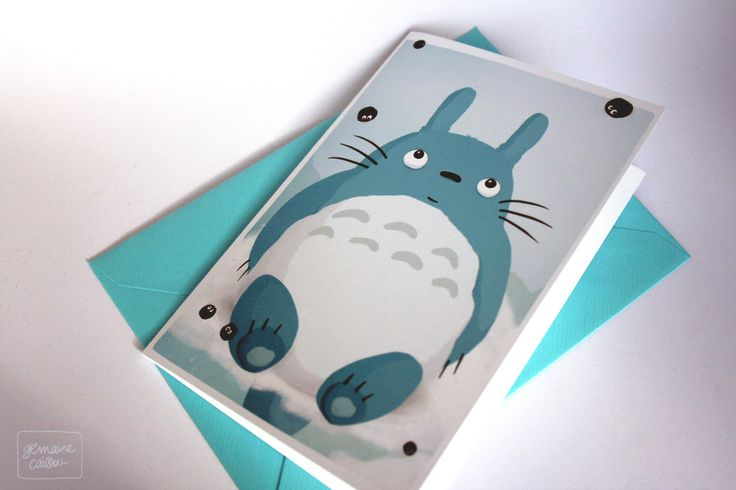 Totoro folded card (inside is blank) by #germainecaillou
