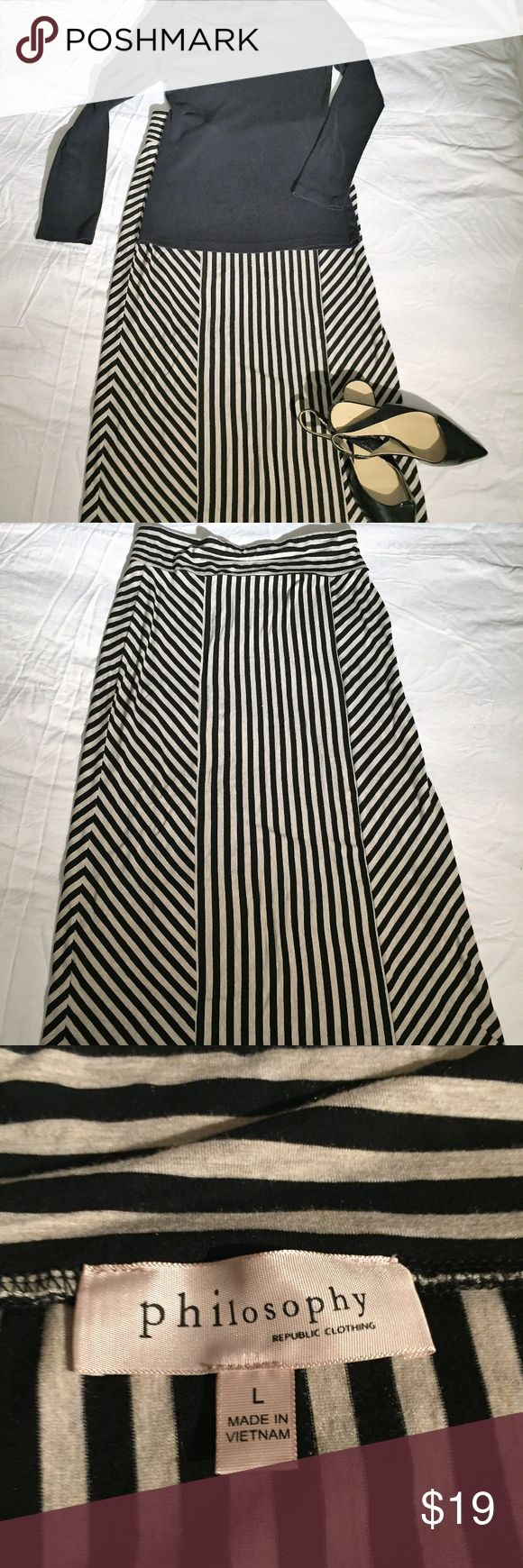 Philosophy Striped Long Skirt - L This skirt is black and tan(ish) and super soft!  Length measures 33.5 inches.  Elastic waist,  and very flattering pattern. Rayon/Spandex blend, machine washable for easy care.  Non smoking home and fast shipping! Philosophy Skirts Maxi