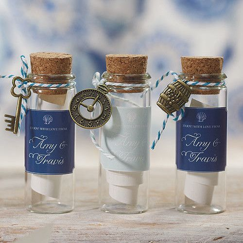 Mini Clear Glass Bottle with Cork with Travel Wedding Favor Charms