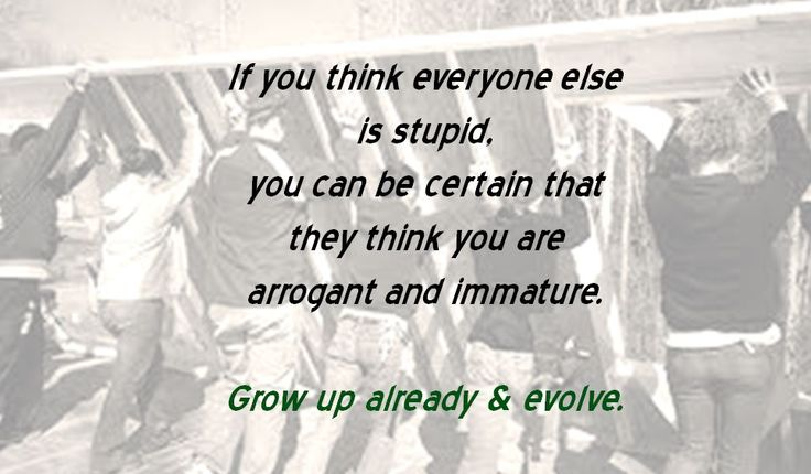 If you think everyone else is stupid, you can be certain that they think you are arrogant and immature. Grow up already & evolve.
