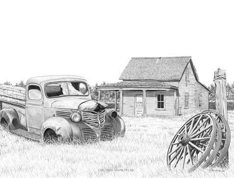 Old Homestead Black and White Art Print by Bernie Brown