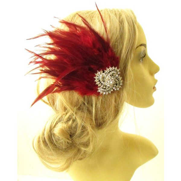 Burgundy Red Silver Feather Fascinator Headpiece Diamante Hair Clip... ($14) ❤ liked on Polyvore featuring accessories, hair accessories, headbands & turbans, silver, silver fascinator hat, fascinator hat, silver headband, headband hair accessories and silver hair clips