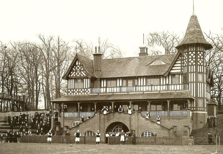 Football on the Cadbury playing field, the Athletics Pavilion in the background [From the clothes worn, this looks to be pre-1939]  bournville1.jpg (800×555)