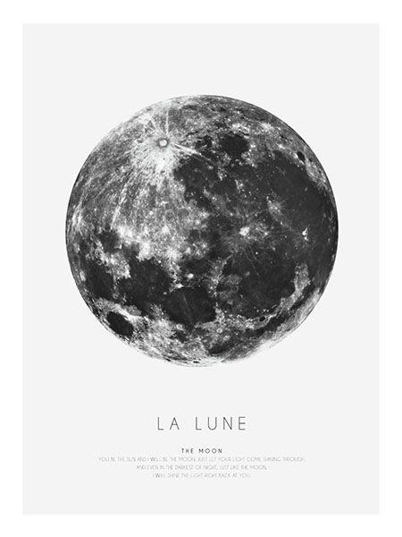 Grafisk affisch med månen | Posters och tavlor online - desenio.se