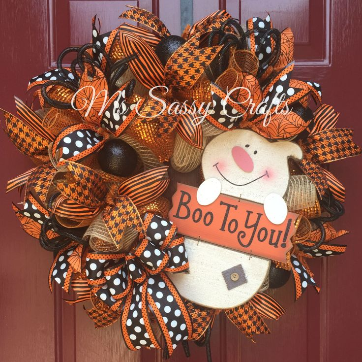 Halloween Burlap and Deco Mesh Ghost Wreath byb MsSassyCrafts on Etsy