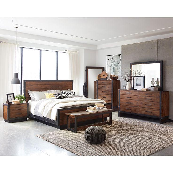 Ellie 8-piece Bourbon Brown Acacia Wood/ Metal Bedroom Set ...