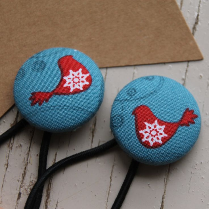 Red Blue Dove Christmas Hair Ties, Christmas Hair Accessories, Fabric Button Hair bands, Christmas Hair Bow by FredandPepperShop on Etsy