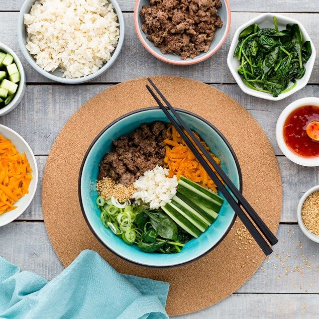 Korean Beef Bibimbap Bowl with Toasted Sesame Seeds