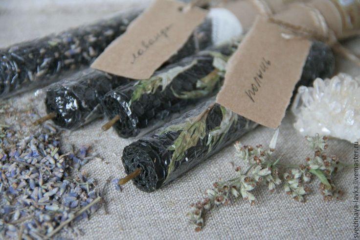 Купить Свечи восковые черные с полынью или лавандой - любовь, Свечи, огонь, свечка